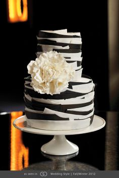 Graphic black and white fondant cake with a sugar peony.