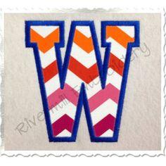 Varsity Collegiate Applique Machine Embroidery Font Monogram Alphabet - 4 Sizes