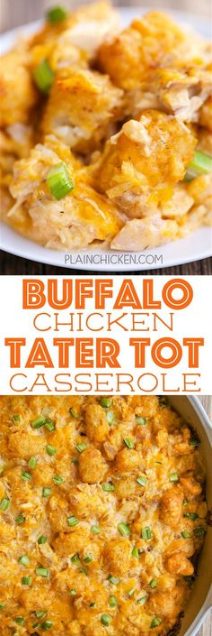 Buffalo Chicken Tater Tot Casserole - SO good! Great casserole for a potluck or watching football!! Everyone LOVES this recipe! Chicken, sour cream, cream of chicken soup, buffalo wing sauce, cheddar cheese, tater tots and celery. Can make ahead and freez