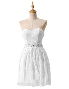 Mini Short Prom Dress Lovely Sweetheart A-line Knee Length Lace White Homecoming Dress With Beading 2016 Homecoming Dresses, Classy Prom Dresses, Open Back Prom Dresses, Short Dresses, White Lace, White Dress, Cheap Cocktail Dresses, Formal Gowns, Dress For You