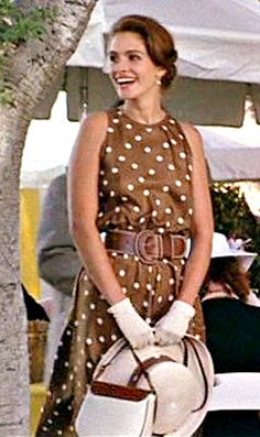 Marilyn Vance-Straker brown polka dot dress for Julia Roberts in the 1990 movie Pretty Woman