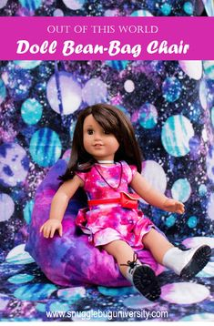 DIY bean bag chair for the American Girl doll Luciana Vega.  This tutorial is very simple and great for anyone learning to sew.  Just 3 seams and you are done.