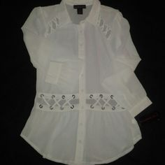 Semi-sheer Cutout Blouse White party Material Girl blouse with antique hole detail. Material Girl Tops Blouses