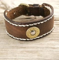 20 Gauge Shotgun Shell Leather Bracelet