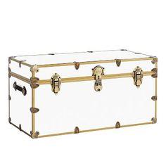 Canvas Dorm Trunk with Rubbed Brass Trim, Standard, Blush Dorm Storage, Bedside Storage, Storage Trunk, Bedroom Storage, Custom Furniture, Furniture Decor, Teen Furniture, Plywood Furniture, Painted Furniture