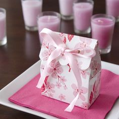 Pink and White Cherry Blossom Scalloped Favor Bags - DIY Favor Kits