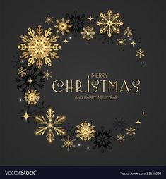 Elegant christmas background with gold shining vector image on VectorStock Merry Christmas Background, Elegant Christmas, Merry Christmas And Happy New Year, Makers Mark, Adobe Illustrator, Snowflakes, Vector Free, Illustration, Gold