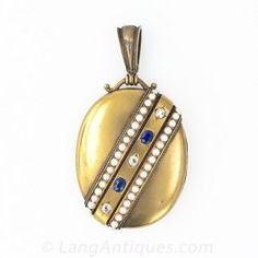 Diamond, Sapphire and Pearl Victorian Locket