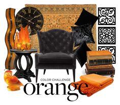 """""""#colorchallenge #orangeandblack"""" by laurel-keating ❤ liked on Polyvore featuring interior, interiors, interior design, home, home decor, interior decorating, New View, Kevin O'Brien, Pillow Decor and Universal Lighting and Decor"""