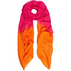 Bright Pink - Orange Cashmere Scarf ($179) ❤ liked on Polyvore featuring accessories, scarves, cashmere scarves, summer shawl, ombre scarves, summer scarves and cashmere shawl