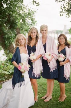 Navy and pink... Love the idea of the shawls!