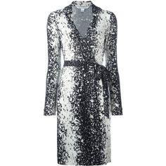 Diane Von Furstenberg splatter print wrap dress ($417) ❤ liked on Polyvore featuring dresses, black, silk print dress, diane von furstenberg, splatter dress, pattern dress and print dress