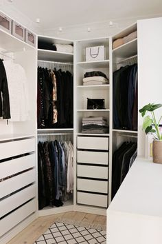 Ikea Pax Wardrobe Closet O Walk In Wardrobe Closet Wardrobe Storage Ikea Pax Wardrobe Walk In Closet Apartment Bedroom Decor, Ikea Bedroom, Bedroom Shelves, Bedroom Small, Trendy Bedroom, Bedroom Ideas, Apartment Hacks, Ikea Shelves, Bedroom Furniture
