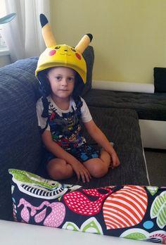 Pikachu pokemon go helmet cover on child Pikachu Pokemon Go, Helmet Covers, Children, Kids, Child, Babys, Babies
