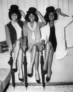 Florence Ballard, Diana Ross, and Mary Wilson tip their hats in a publicity photo from 1965.  Getty Archive