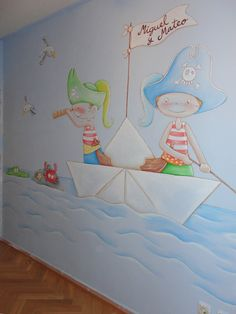 mural pirata pared dibujo de piratas en paredes Sea Murals, Wall Murals, Painting For Kids, Art For Kids, Kids Salon, Kids Room Murals, Artwork Display, Beach Kids, Kids House