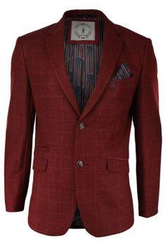 Herren-Kariert-Fischgraete-Design-Sakko-Weste-Wein-Farbe-Burgund-Tweed