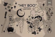 """Hey BOO"" mystical collection by hello Xeni on @creativemarket"