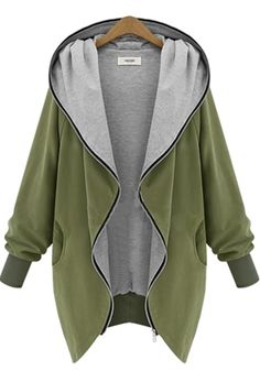 Army Green Plain Pockets Hooded Zipper Casual Coat - Outerwears - Tops