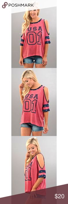 Cold Shoulder Knit USA top PRODUCT DESCRIPTION  Washed out cold shoulder USA 01 top, lined with blue and white star details along the sleeves for the adorable jersey look. Pair with some jean shorts and cowgirl boots and your patriotic wearing your favorite USA colors.   Models are wearing a size small. 60% combed ring-spun cotton, 40% polyester lightweight jersey Perfect for 4th of July, Memorial Day, Presidents Day & even Labor Day.  Runs true to size. Removable bow on back. Tops Tees…