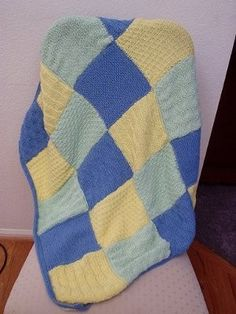 Hand Knitted Patchwork Blanket