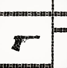 Mondrian Gun (2004) • Resin, acrylic, Band-aid imprint on wood   www.lucywhite.com