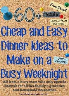 60+ Cheap and Easy Dinner Ideas to Make on a Weeknight -- Weeknights can be brutal. Kids activities, volunteer opportunities, religious functions, family obligations, homework -- it is easy to see why fast food is such an 'easy' choice for so many families. Fast food surely puts a dent in any budget though, so having some easy, frugal recipes and ideas on standby is so important to keeping on budget. I have a few tips to help you stay on track!