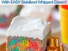 Rainbow Poke Cake With Whipped Cream made with no cake mix. Condensed milk makes this poke cake super moist and fluffy stabilized whipped cream won't melt! Stabilized Whipped Cream, Sheet Cake Recipes, Let Them Eat Cake, Rainbow, Cakes, Condensed Milk, Dinner, Casseroles, Sweet