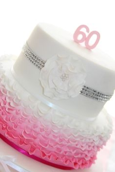Ombre Ruffled Birthday Cake so cute Minnie Mouse Birthday Theme, Themed Birthday Cakes, Birthday Bash, Birthday Ideas, Fun Cakes, Sweet Cakes, Party Cakes, Yummy Cakes, Fondant Cakes