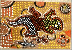 aboriginal example - there is also a chart of symbols above this.  Paint animal black first and use brown paper!!!