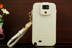 Klogi Leather Case Cover w/ Detachable Hand Strap for Samsung Galaxy Note 2 II N7100 - White