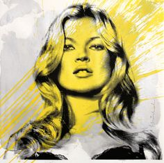 MR BRAINWASH - Drawing-Watercolor - Kate Moss (Yellow)