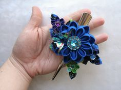 Technicolor Kanzashi Flower Hair Clip. This is what I should do with my broken head band