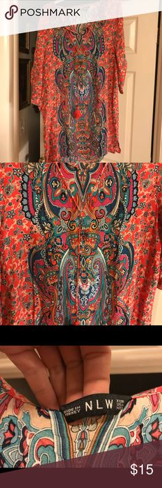 NWOT Size Medium  Bohemian Top Just bought thought I could pull it off too small in the chest for me. Beautiful love this top. NLW Tops Tunics