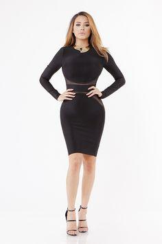 Medea Long Sleeves Bandage Dress - Black