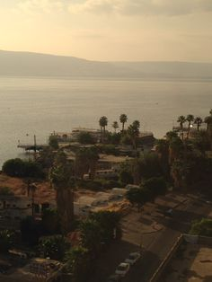 Looking out the hotel window in Tiberias