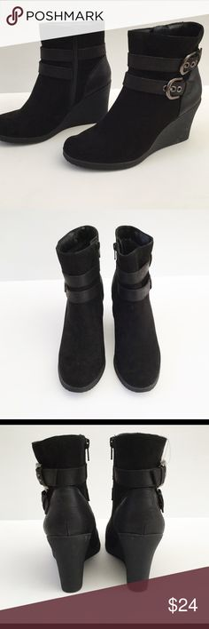 Wedge bootie Black suede booties with vegan leather strap detail. whitemt. Shoes Ankle Boots & Booties