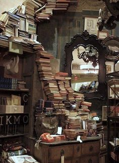 """It is clear that the books owned the shop rather than the other way about. Everywhere they had run wild and taken possession of their habitat, breeding and multiplying, and clearly lacking any strong hand to keep them down.""  ― Agatha Christie, The Clocks"