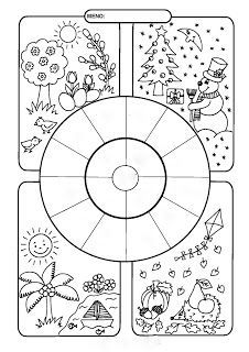 Seasons and months worksheet/coloring page. Art For Kids, Crafts For Kids, English Activities, Early Childhood Education, English Lessons, Classroom Activities, Science And Nature, Kids Education, Teaching English