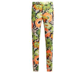 Gucci Floral-print slim-leg wool-blend trousers ($1,850) ❤ liked on Polyvore featuring pants, gucci, white pants, floral print pants, floral pants and slim fit pants