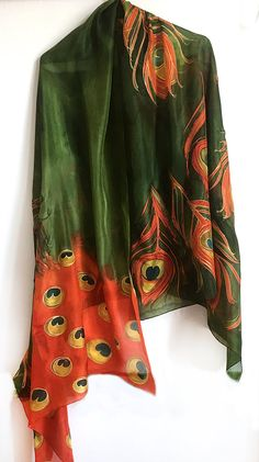 Hand painted silk scarf- The Red Peacock Feathers, Moss Green Silk Scarf, Feather scarf painted, Oversized scarf, Birds scarf, Gift for her ♥Luxurious Silk Scarf in Peacock Theme, Olive green scarf with Red feathers and bright red at one side, Extravagant evening silk scarf, Silk Shawl Olive green ♥Measurements: 35 by 70 inches. Material is pure silk, ponge 6. ____________________________________________________ The hand painted scarf will be a unique gift for Mothers Day ♥All my scarves...