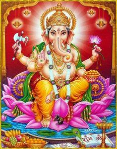 Ganesh offers his blessing Vintage-style devotional print. Shri Ganesh Images, Sri Ganesh, Ganesh Lord, Ganesha Pictures, Hanuman Photos, Ganesha Drawing, Lord Ganesha Paintings, Ganesha Art, Lord Shiva Hd Images
