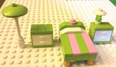 LEGO Furniture Custom Bedroom Set Lime, Pink and White: Bed, Night Tables, Table Lamp and Floor Lamp, Modular! #LEGO #LEGOModular #LEGOFurniture #LEGOBedroom