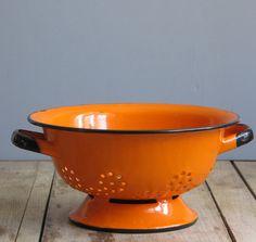 Vintage orange polish colander from Wretched Shekels.