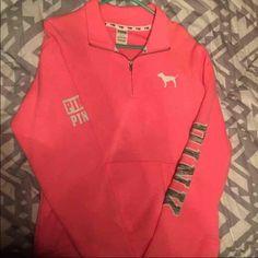 Vs half zip Boyfriend fit. Love this but wish it was a medium. Worn once. Excellent condition. PINK Victoria's Secret Tops Sweatshirts & Hoodies