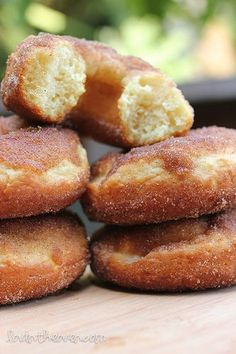baked maple donuts with cinnamon sugar.