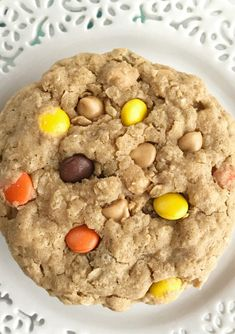 Triple Peanut Butter Monster Cookies | These triple peanut butter monster cookies are a peanut butter lovers dream! Thick, chewy, soft monster cookies loaded with peanut butter, oats, peanut butter chips, and reeses pieces. These are insanely delicious & addicting. A tall glass of cold milk is a must have | Together as Family #peanutbuttercookies #cookierecipes #dessertrecipes #monstercookies #monstercookierecipes