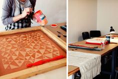 i would love to have room for a studio and to do more hand screen printing and textile work