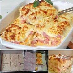 1 pacote de pão de forma 1 lata de creme de leite 1 cebola 3 dentes de alho 1/2 kg de queijo mussarela 1/2 kg de presunto 1 molho de tomate Comentários comments