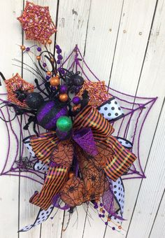 Spider Web wreath Halloween Wreath Halloween Spider by Keleas